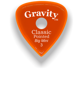 Classic Pointed Big Mini 3.0mm Orange Single Round Grip Acrylic Guitar Pick Handmade Custom Best Acoustic Mandolin Electric Ukulele Bass Plectrum Bright Loud Faster Speed