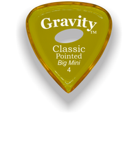 Load image into Gallery viewer, Classic Pointed Big Mini 4.0mm Yellow Elipse Grip Acrylic Guitar Pick Handmade Custom Best Acoustic Mandolin Electric Ukulele Bass Plectrum Bright Loud Faster Speed