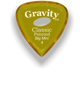 Classic Pointed Big Mini 4.0mm Yellow Elipse Grip Acrylic Guitar Pick Handmade Custom Best Acoustic Mandolin Electric Ukulele Bass Plectrum Bright Loud Faster Speed
