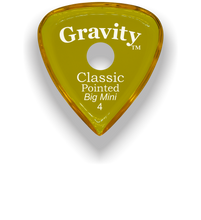 Load image into Gallery viewer, Classic Pointed Big Mini 4.0mm Yellow Single Round Grip Acrylic Guitar Pick Handmade Custom Best Acoustic Mandolin Electric Ukulele Bass Plectrum Bright Loud Faster Speed