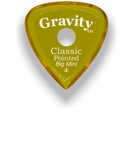 Classic Pointed Big Mini 4.0mm Yellow Single Round Grip Acrylic Guitar Pick Handmade Custom Best Acoustic Mandolin Electric Ukulele Bass Plectrum Bright Loud Faster Speed