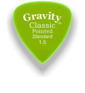 Classic Pointed Standard 1.5mm Fluorescent Green Acrylic Guitar Pick Handmade Custom Best Acoustic Mandolin Electric Ukulele Bass Plectrum Bright Loud Faster Speed