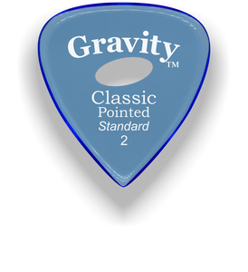 Classic Pointed Standard 2.0mm Blue Elipse Grip Acrylic Guitar Pick Handmade Custom Best Acoustic Mandolin Electric Ukulele Bass Plectrum Bright Loud Faster Speed