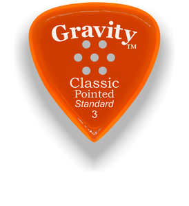 Classic Pointed Standard 3.0mm Orange Multi-Hole Grip Acrylic Guitar Pick Handmade Custom Best Acoustic Mandolin Electric Ukulele Bass Plectrum Bright Loud Faster Speed