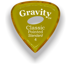 Classic Pointed Standard 4.0mm Yellow Elipse Grip Acrylic Guitar Pick Handmade Custom Best Acoustic Mandolin Electric Ukulele Bass Plectrum Bright Loud Faster Speed