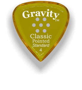 Classic Pointed Standard 4.0mm Yellow Multi-Hole Grip Acrylic Guitar Pick Handmade Custom Best Acoustic Mandolin Electric Ukulele Bass Plectrum Bright Loud Faster Speed