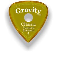 Load image into Gallery viewer, Classic Pointed Standard 4.0mm Yellow Single Round Grip Acrylic Guitar Pick Handmade Custom Best Acoustic Mandolin Electric Ukulele Bass Plectrum Bright Loud Faster Speed