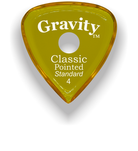 Classic Pointed Standard 4.0mm Yellow Single Round Grip Acrylic Guitar Pick Handmade Custom Best Acoustic Mandolin Electric Ukulele Bass Plectrum Bright Loud Faster Speed