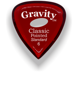 Classic Pointed Standard 6.0mm Red Elipse Grip Acrylic Guitar Pick Handmade Custom Best Acoustic Mandolin Electric Ukulele Bass Plectrum Bright Loud Faster Speed