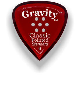 Classic Pointed Standard 6.0mm Red Multi-Hole Grip Acrylic Guitar Pick Handmade Custom Best Acoustic Mandolin Electric Ukulele Bass Plectrum Bright Loud Faster Speed