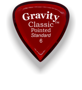 Classic Pointed Standard 6.0mm Red Acrylic Guitar Pick Handmade Custom Best Acoustic Mandolin Electric Ukulele Bass Plectrum Bright Loud Faster Speed