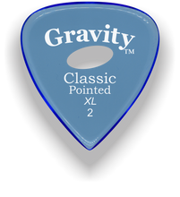 Load image into Gallery viewer, Classic Pointed XL 2.0mm Blue Elipse Grip Acrylic Guitar Pick Handmade Custom Best Acoustic Mandolin Electric Ukulele Bass Plectrum Bright Loud Faster Speed