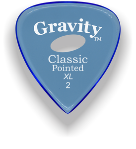 Classic Pointed XL 2.0mm Blue Elipse Grip Acrylic Guitar Pick Handmade Custom Best Acoustic Mandolin Electric Ukulele Bass Plectrum Bright Loud Faster Speed