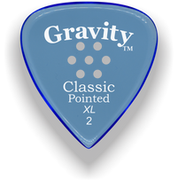 Load image into Gallery viewer, Classic Pointed XL 2.0mm Blue Multi-Hole Grip Acrylic Guitar Pick Handmade Custom Best Acoustic Mandolin Electric Ukulele Bass Plectrum Bright Loud Faster Speed