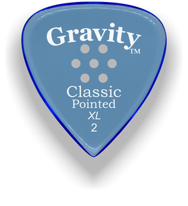 Classic Pointed XL 2.0mm Blue Multi-Hole Grip Acrylic Guitar Pick Handmade Custom Best Acoustic Mandolin Electric Ukulele Bass Plectrum Bright Loud Faster Speed