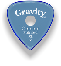 Load image into Gallery viewer, Classic Pointed XL 2.0mm Blue Single Round Grip Acrylic Guitar Pick Handmade Custom Best Acoustic Mandolin Electric Ukulele Bass Plectrum Bright Loud Faster Speed