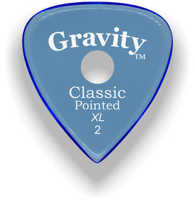 Classic Pointed XL 2.0mm Blue Single Round Grip Acrylic Guitar Pick Handmade Custom Best Acoustic Mandolin Electric Ukulele Bass Plectrum Bright Loud Faster Speed