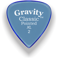 Load image into Gallery viewer, Classic Pointed XL 2.0mm Blue Acrylic Guitar Pick Handmade Custom Best Acoustic Mandolin Electric Ukulele Bass Plectrum Bright Loud Faster Speed