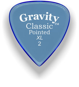 Classic Pointed XL 2.0mm Blue Acrylic Guitar Pick Handmade Custom Best Acoustic Mandolin Electric Ukulele Bass Plectrum Bright Loud Faster Speed