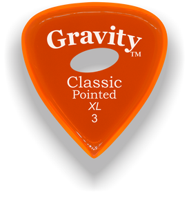 Classic Pointed XL 3.0mm Orange Elipse Grip Acrylic Guitar Pick Handmade Custom Best Acoustic Mandolin Electric Ukulele Bass Plectrum Bright Loud Faster Speed