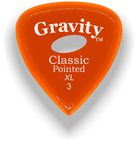 Load image into Gallery viewer, Classic Pointed XL 3.0mm Orange Elipse Grip Acrylic Guitar Pick Handmade Custom Best Acoustic Mandolin Electric Ukulele Bass Plectrum Bright Loud Faster Speed