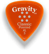 Load image into Gallery viewer, Classic Pointed XL 3.0mm Orange Multi-Hole Grip Acrylic Guitar Pick Handmade Custom Best Acoustic Mandolin Electric Ukulele Bass Plectrum Bright Loud Faster Speed