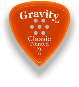 Classic Pointed XL 3.0mm Orange Multi-Hole Grip Acrylic Guitar Pick Handmade Custom Best Acoustic Mandolin Electric Ukulele Bass Plectrum Bright Loud Faster Speed