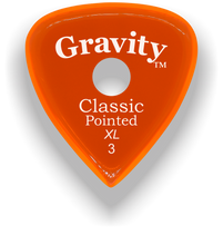 Load image into Gallery viewer, Classic Pointed XL 3.0mm Orange Single Round Grip Acrylic Guitar Pick Handmade Custom Best Acoustic Mandolin Electric Ukulele Bass Plectrum Bright Loud Faster Speed