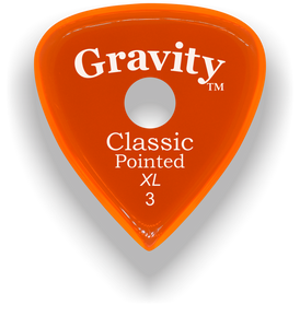 Classic Pointed XL 3.0mm Orange Single Round Grip Acrylic Guitar Pick Handmade Custom Best Acoustic Mandolin Electric Ukulele Bass Plectrum Bright Loud Faster Speed