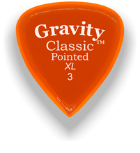 Load image into Gallery viewer, Classic Pointed XL 3.0mm Orange Acrylic Guitar Pick Handmade Custom Best Acoustic Mandolin Electric Ukulele Bass Plectrum Bright Loud Faster Speed