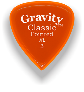 Classic Pointed XL 3.0mm Orange Acrylic Guitar Pick Handmade Custom Best Acoustic Mandolin Electric Ukulele Bass Plectrum Bright Loud Faster Speed