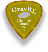 Load image into Gallery viewer, Classic Pointed XL 4.0mm Yellow Elipse Grip Acrylic Guitar Pick Handmade Custom Best Acoustic Mandolin Electric Ukulele Bass Plectrum Bright Loud Faster Speed