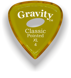 Classic Pointed XL 4.0mm Yellow Elipse Grip Acrylic Guitar Pick Handmade Custom Best Acoustic Mandolin Electric Ukulele Bass Plectrum Bright Loud Faster Speed
