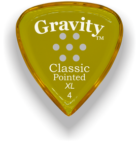 Classic Pointed XL 4.0mm Yellow Multi-Hole Grip Acrylic Guitar Pick Handmade Custom Best Acoustic Mandolin Electric Ukulele Bass Plectrum Bright Loud Faster Speed