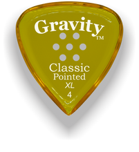 Load image into Gallery viewer, Classic Pointed XL 4.0mm Yellow Multi-Hole Grip Acrylic Guitar Pick Handmade Custom Best Acoustic Mandolin Electric Ukulele Bass Plectrum Bright Loud Faster Speed