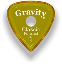 Load image into Gallery viewer, Classic Pointed XL 4.0mm Yellow Single Round Grip Acrylic Guitar Pick Handmade Custom Best Acoustic Mandolin Electric Ukulele Bass Plectrum Bright Loud Faster Speed