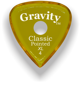 Classic Pointed XL 4.0mm Yellow Single Round Grip Acrylic Guitar Pick Handmade Custom Best Acoustic Mandolin Electric Ukulele Bass Plectrum Bright Loud Faster Speed