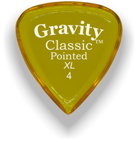 Load image into Gallery viewer, Classic Pointed XL 4.0mm Yellow Acrylic Guitar Pick Handmade Custom Best Acoustic Mandolin Electric Ukulele Bass Plectrum Bright Loud Faster Speed