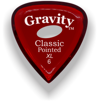 Load image into Gallery viewer, Classic Pointed XL 6.0mm Red Elipse Grip Acrylic Guitar Pick Handmade Custom Best Acoustic Mandolin Electric Ukulele Bass Plectrum Bright Loud Faster Speed