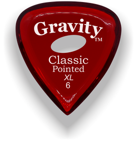 Classic Pointed XL 6.0mm Red Elipse Grip Acrylic Guitar Pick Handmade Custom Best Acoustic Mandolin Electric Ukulele Bass Plectrum Bright Loud Faster Speed