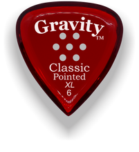 Load image into Gallery viewer, Classic Pointed XL 6.0mm Red Multi-Hole Grip Acrylic Guitar Pick Handmade Custom Best Acoustic Mandolin Electric Ukulele Bass Plectrum Bright Loud Faster Speed