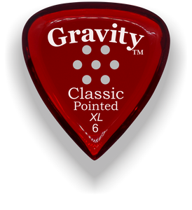 Classic Pointed XL 6.0mm Red Multi-Hole Grip Acrylic Guitar Pick Handmade Custom Best Acoustic Mandolin Electric Ukulele Bass Plectrum Bright Loud Faster Speed