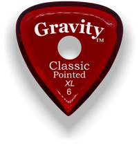 Load image into Gallery viewer, Classic Pointed XL 6.0mm Red Single Round Grip Acrylic Guitar Pick Handmade Custom Best Acoustic Mandolin Electric Ukulele Bass Plectrum Bright Loud Faster Speed