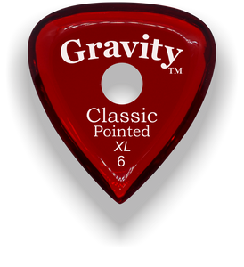 Classic Pointed XL 6.0mm Red Single Round Grip Acrylic Guitar Pick Handmade Custom Best Acoustic Mandolin Electric Ukulele Bass Plectrum Bright Loud Faster Speed