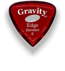 Edge Standard 6.0mm Red Elipse Grip Acrylic Guitar Pick Handmade Custom Best Acoustic Mandolin Electric Ukulele Bass Plectrum Bright Loud Faster Speed