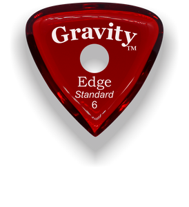 Edge Standard 6.0mm Red Single Round Grip Acrylic Guitar Pick Handmade Custom Best Acoustic Mandolin Electric Ukulele Bass Plectrum Bright Loud Faster Speed