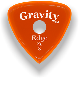 Edge XL 3.0mm Orange Single Round Grip Acrylic Guitar Pick Handmade Custom Best Acoustic Mandolin Electric Ukulele Bass Plectrum Bright Loud Faster Speed