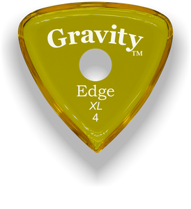 Edge XL 4.0mm Yellow Single Round Grip Acrylic Guitar Pick Handmade Custom Best Acoustic Mandolin Electric Ukulele Bass Plectrum Bright Loud Faster Speed