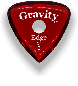 Edge XL 6.0mm Red Single Round Grip Acrylic Guitar Pick Handmade Custom Best Acoustic Mandolin Electric Ukulele Bass Plectrum Bright Loud Faster Speed