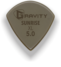 Load image into Gallery viewer, Sunrise XL 5.0mm Gold Guitar Pick Handmade Custom Best Acoustic Mandolin Electric Ukulele Bass Plectrum Bright Loud Faster Speed